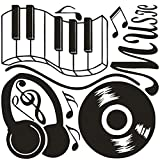 DNVEN (28'w X 24'h) New Design Music Notes Keyboard Headphone Guitar Record Wall Stickers Quotes Vinyl Wall Decals Decors Art Stickers for Couple Room Kids Room Bedrooms Music Rooms