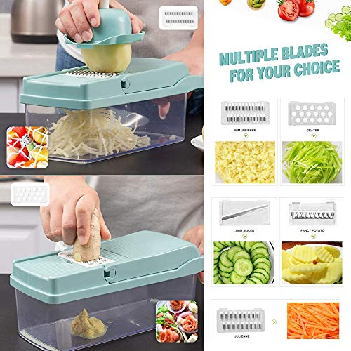 Vegetable Chopper, Onion Veggie Slicer Chopper, Spiralizer Vegetable Cutter Chopper Blades with Durable Fruit Slicer Cutter Container for Cooking Tools (Light Blue)