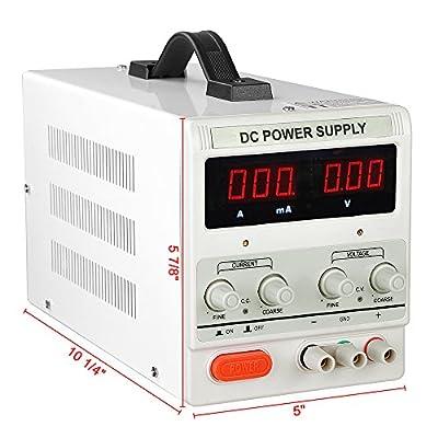 Yescom 110V Input 30V 5A Output Precision Variable Digital DC Power Supply with Alligator Test Lead Set