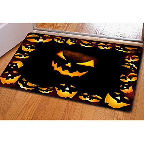 Mumeson Halloween Scary Jack-O-Lantern Pumpkin Face Doormat Bath mats Non-Slip Kitchen Rugs and Mats 4x6 -