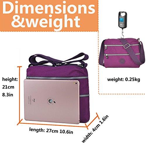 Bag Waterproof Crossbody Functional Pocket 8017 Handbag Nylon Multi Roomy Lightweight purple Rock Volganik IUzzORqw