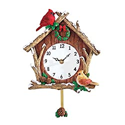 Cardinal Birdhouse Pendulum Christmas Clock