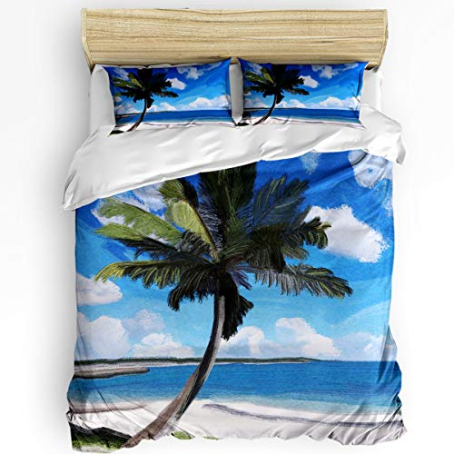 YEHO Art Gallery Full Size Luxury 3 Piece Duvet Cover Sets for Boys Girls,Coconut Tree on The Beach Under Blue Sky Bedding Set,Include 1 Comforter Cover with 2 Pillow Cases]()