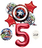 5th Birthday Red Number Avengers Captain America Shield Balloons Bouquet Bundle