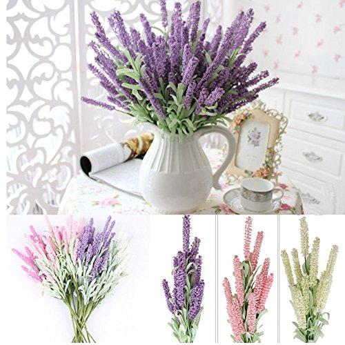 S&M TREADE 12-Heads Artificial Silk Lavender Fake Flower Wedding Bouquet Party Home Decor (Light Purple)