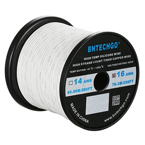 (BNTECHGO 16 Gauge Silicone Wire Spool White 250 feet Ultra Flexible High Temp 200 deg C 600V 16 AWG Silicone Rubber Wire 252 Strands of Tinned Copper Wire Stranded Wire)
