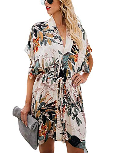 Bsubseach Women Leaf Print Beach Kimono Cardigan with Belt Short Sleeve Deep V Rayon Swimsuit Cover Up Swimwear
