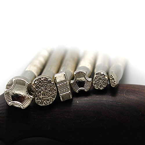 VENCINK Saddle Making Tools Carving Leather Craft Punch Stamps Handmade Art DIY Leather Craftool Creative Stamp Set for Leather Craft Working Silver (…