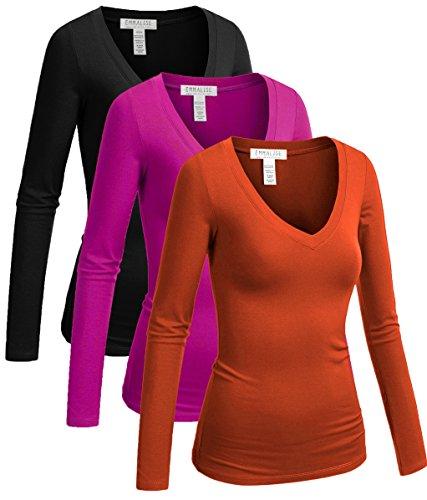 New Junior Women T-shirt - Emmalise Women's Long Sleeve V-Neck T-Shirt 3 Pack (New Coral/Hot Pink/Black-S)