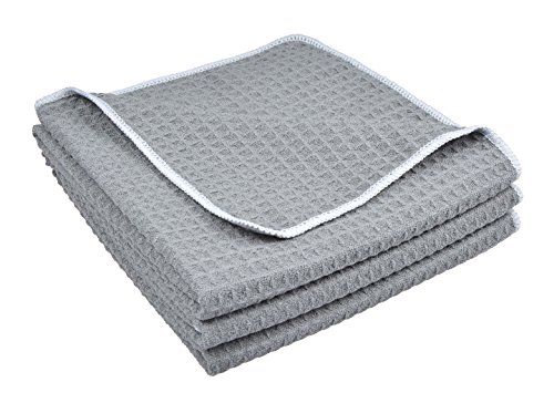 Sinland Microfiber Waffle Weave Kitchen Towels Dish Cloth 3 Pack 16inch X 24inch Grey by Sinland