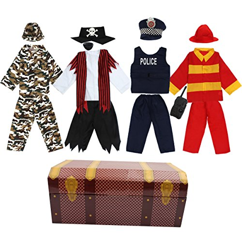 Boys Dress up Trunk Toiijoy 15Pcs Role Play Costume Set-Pirate,Policeman,Soldier,Firefighter Costume for Kids Age 3-6yrs -
