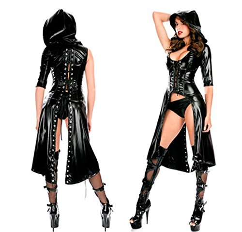 [Gothic Punk Wetlook Sweet Pea Hooded Coat Latex Pvc Gown Dress Costume] (Pea Costumes)