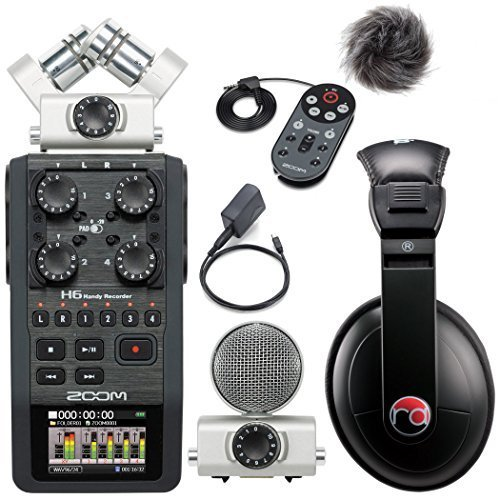 Zoom H6 Six-Track Portable Recorder w/ Accessory Pack & Resident Audio R100 Headphones - Bundle