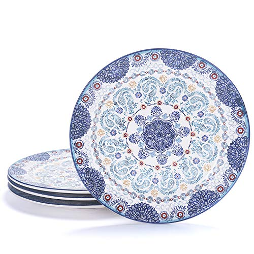 Bico Blue Talavera Ceramic 11 inches Dinner Plates, Set of 4, for Pasta, Salad, Maincourse, Microwave & Dishwasher Safe, House Warming Birthday Anniversary Gift