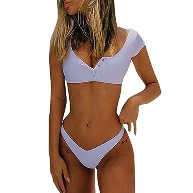 Mujer Trajes de Baño Realde Conjunto Sólido de Dos Piezas de Bikini de Cintura Alta Trajes de Baño Tops de Manga Corta y Conjunto de Bikini de Tanga Bañadores Bikinis Ropa De