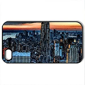 amazing new york city hdr - Case Cover for iPhone 4 and 4s (Skyscrapers Series, Watercolor style, Black)