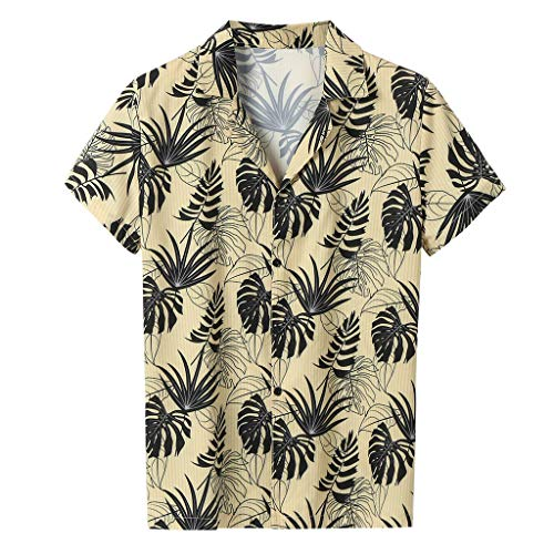 JDgoods Men Summer Fashion Shirts Casual Striped Shirts Short-Sleeve Top Blouse Yellow