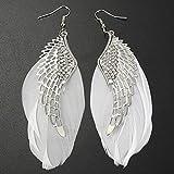 Hemlock Women Girl Handmade Feather Angel Wing Drop Earrings (White)