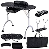 Caraya Nail Table Portable Station Desk Spa Beauty Salon Equipment Black