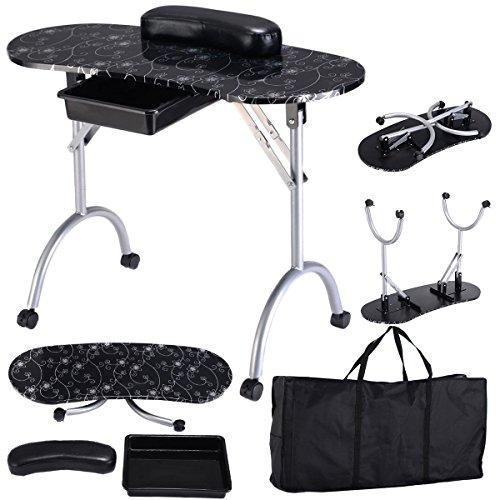Manicure Nail Station Portable Desk Spa Beauty Salon Equipment Black by Caraya