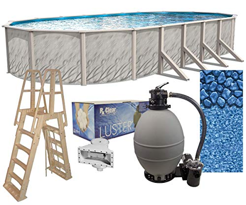 Meadows 18-Foot-by-33-Foot Oval Above-Ground Swimming Pool | 52-Inch Height | Steel-Sided Walls | Bundle Kit | Boulder Swirl Liner | A-Frame Ladder | Filter Tank | 2 HP Pump | Wide-Mouth Skimmer