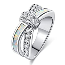 Women Rings White Fire Opal Cubic Zirconia Rhodium Plated Twisted Knot Stacking Party Jewelry Size 8