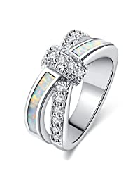 Women Rings White Fire Opal Cubic Zirconia Rhodium Plated Twisted Knot Stacking Party Jewelry Size 5-10