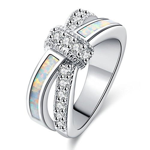 Opal Knot (Women Rings White Fire Opal Cubic ZirconiaRhodium Plated Twisted Knot StackingParty Jewelry Size 7)