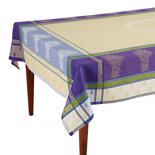 Lavandine Lavande Jacquard French Provencal Tablecloth, 63 x 98 (6-8 people) by Occitan Imports