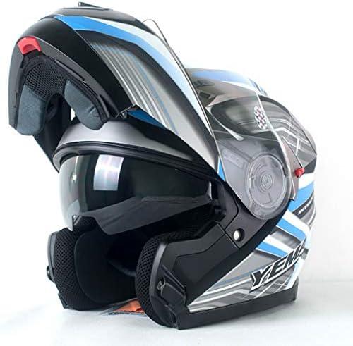 NJ ヘルメット- 電動バイクのヘルメットの男性と女性の顔ヘルメットのフォーシーズンズユニバーサル日焼け止めのダブルレンズのヘルメット (Color : A, Size : 35x23cm)
