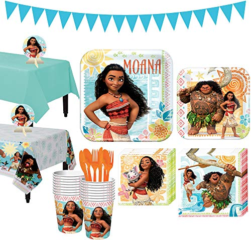 Party City Moana Tableware Party Kit and Supplies for 16 Guests, Includes Table Covers, Table Centerpieces, Banner ()
