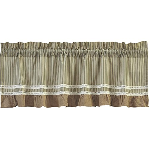 VHC Brands Classic Country Farmhouse Kitchen Window Curtains - Kendra Stripe Tan Valance, 19