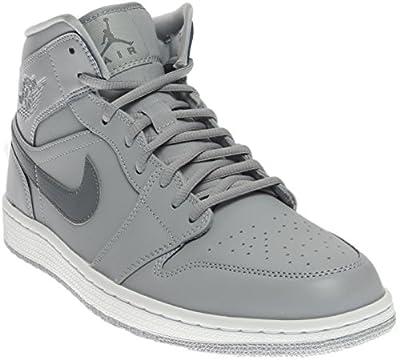 Jordan Nike Mens 1 Mid Wolf Grey/Cool Grey/Cool Grey Basketball Shoe 9.5 Men US