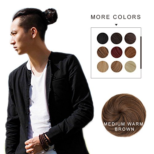 Fast Hair Bun for Men REECHO Hair Extensions Chignon Synthetic 3 inches in Diameter Size Small Color Medium Warm Brown