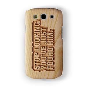 Carved on Wood Effect_Stop Looking Funda Completa de Alta Calidad con Impresión 3D, Snap-On, Diseño Negro Formato Duro parar Samsung® Galaxy S3 de Chargrilled