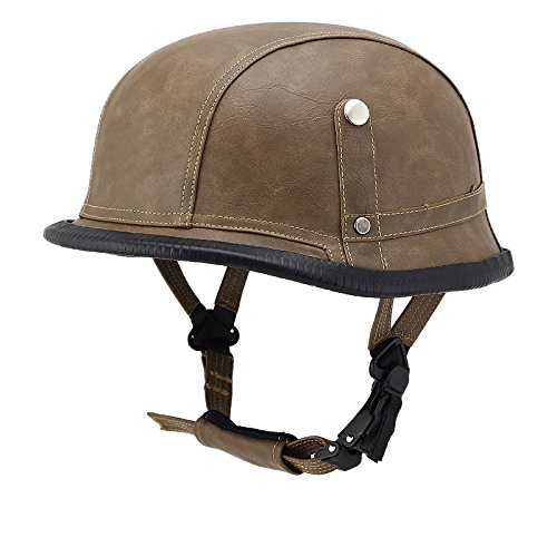 Woljay Leather Motorcycle Goggles Vintage Half Helmets Motorcycle Biker Cruiser Scooter Touring Helmet (Brown with Goggles)
