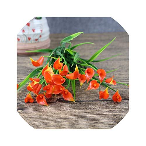 25 Heads/Bouquet Mini Artificial Calla with Leaf Silk Fake Lily Aquatic Plants Home Room Decoration Flower,Orange 1 Bouquet