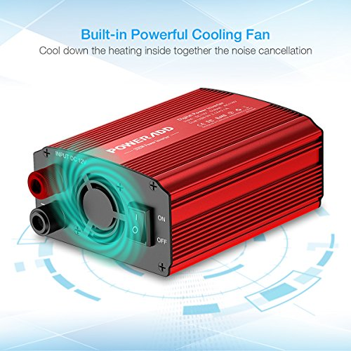 Poweradd 300W Car Power Inverter DC 12V to AC 110V Converter with Dual 3.1A Dual USB Ports for Smartphones, Tablet, Laptop, Breast pump, Nebulizer and More - Red by Poweradd (Image #3)
