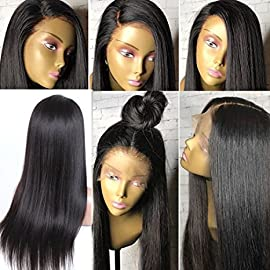 KRN Hair 8A Brazilian Remy Virgin Hair Full Lace Wigs Straight Human Hair Glueless Lace Front Wigs for Black Women Full Lace Human Hair Wigs with Baby Hair (8 inch with 130%, Lace Front Wig)