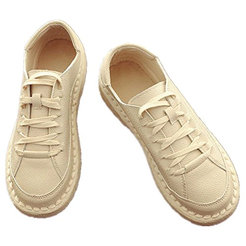 White white Shoes Retro meters Breathable Leisureflat Shoes Low Lace Shoes Small Women PxqU8wB1U