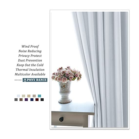 "PONY DANCE White Curtain Panels - Room Darkening Light Filtering Window Draperies Back Tab/Rod Pocket Blackout Curtains Home Decor, 52 Wide by 72 Long, Greyish White, 2 Pieces - READY MADE: 2 panels of Heavy-duty blackout curtains includes, each measures 52"" wide x 72"" Long(total width - 104""). 7 back tabs and 3"" rod pocket top fits most standard rods and makes the maximize coverage of windows. VERSATILE STYLES: Dual header(Back Tab and Rod Pocket) enable you to decorate your home with different styles according to your preference. Curtains can be styled in 3 ways: back Loops, rod pocket or with your own clip-rings. INNOVATIVE FABRIC: PONY DANCE blackout curtains with no liner feature triple-weaved fabric construction. The shading rate ranges from 60% - 75% due to different colors (Dark color works better) and it also block UV rays. - living-room-soft-furnishings, living-room, draperies-curtains-shades - 51Z409HkFRL. SS570  -"