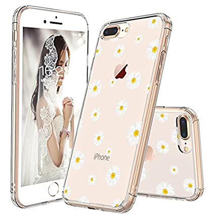 I Phone 8 Plus Clear Case, I Phone 7 Plus Case, Mosnovo Daisy Floral Flower Clear Design Printed Plastic Hard Back Case With Tpu Bumper Case Cover For I Phone 7 Plus/I Phone 8 Plus by Mosnovo