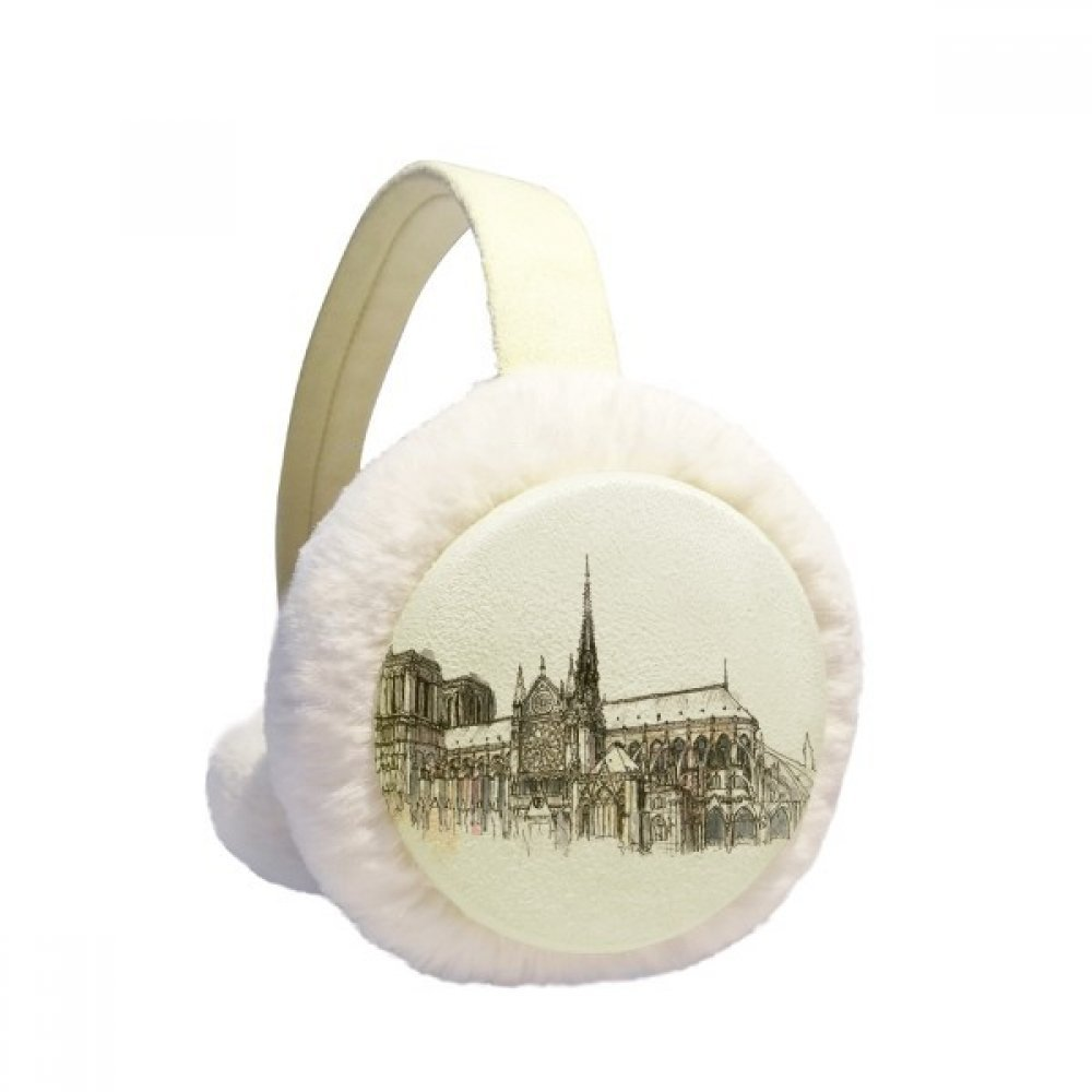 Notre-Dame de in Paris France Winter Earmuffs Ear Warmers Faux Fur Foldable Plush Outdoor Gift