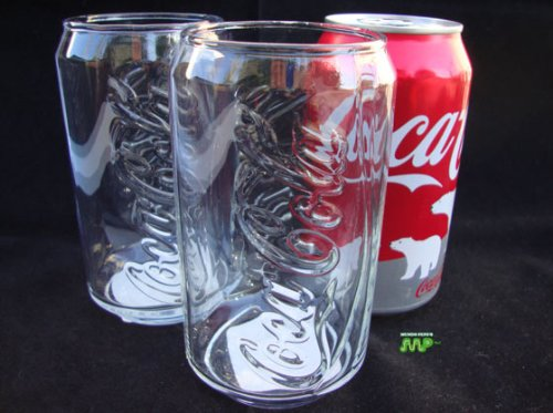 Coca Cola 2 Pc Glass Set Coke Classic Aluminum Soda Can Style Thick Glasses 16oz Embosed Glass Lettering Nice Vintage Look!