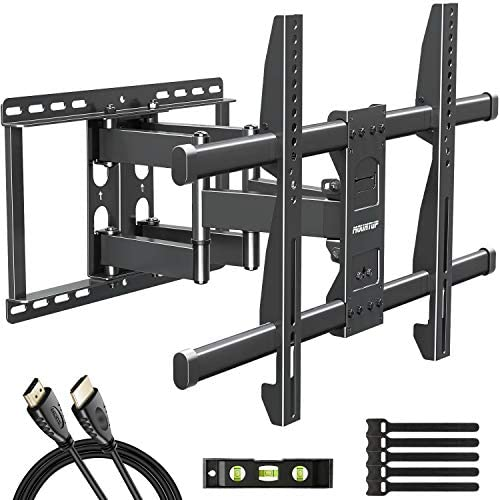 MOUNTUP Full Motion TV Wall Mount Bracket for 42-70 Inch Flat Screen Curved TVs, Wall Mount TV Bracket – Articulating Arms with Smooth Extension, Swivel, Tilt, Max VESA 600x400mm and 100LBS, MU0012
