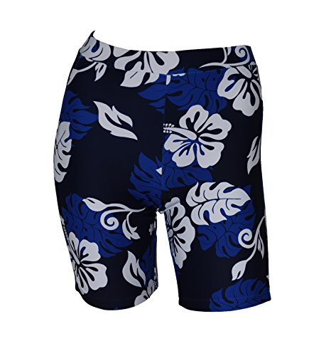 Private Island Hawaii Women UV Rash Guard Skinny Shorts Pants Leggings, Workout Outdoor Yoga/Fitness/Running Clothing (Large, Blue with White) ()