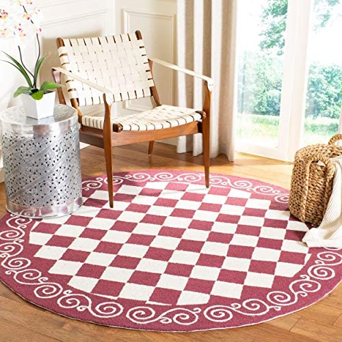 Safavieh Chelsea Collection HK711C Hand-Hooked Burgundy and Ivory Premium Wool Round Area Rug 5'6″ Diameter