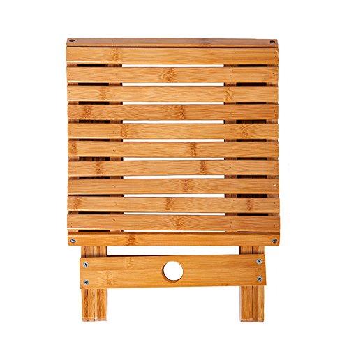 해외 Mylifeunit 대나무 접이식 의자 11 8 인치 높이 무게 용량 440 Lbs
