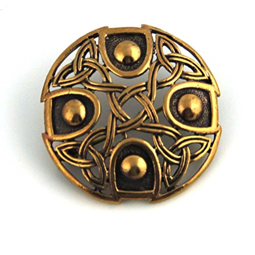 Bronze Gold Viking Shield Brooches ,Clothes Fasteners - Cloak, Shawl, Scarf Pin, Celtic Irish Norse Vintage ()