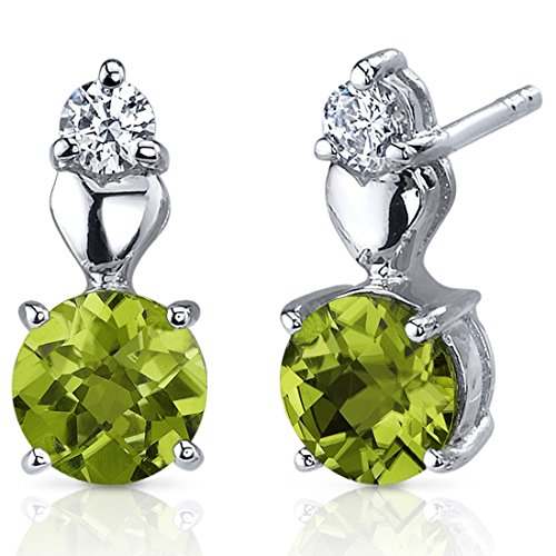 Peridot Earrings Sterling Silver Rhodium Nickel Finish Heart Design 1.50 Carats